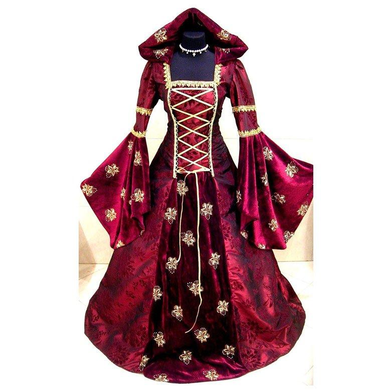 Red Medieval Victorian Renaissance Wedding Dress Adult Women Halloween Party Dress