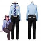 Game OW DVA Costume DVA Hana Song Police Officer Uniform Halloween Cape Buffalo Police Costume