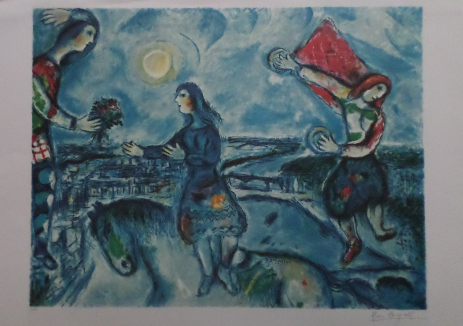 Marc chagall lovers over paris limited edition lithograph for Biographie de marc chagall