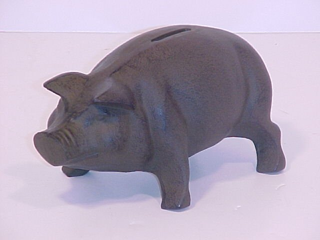 Piggy Bank Cast Iron Warm Brown Finish
