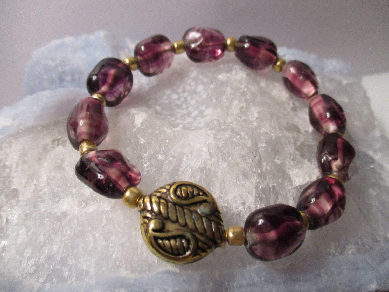 Purple Lampwork Bead Bracelet