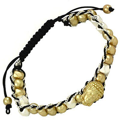 Buddha and Bead Leather Bracelet