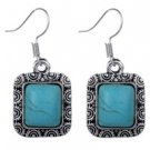 Square Turquoise (Magnesite) Drop Earrings  Free Shipping
