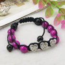 Heart Bead Macrame Adjustable (shambala) bracelet