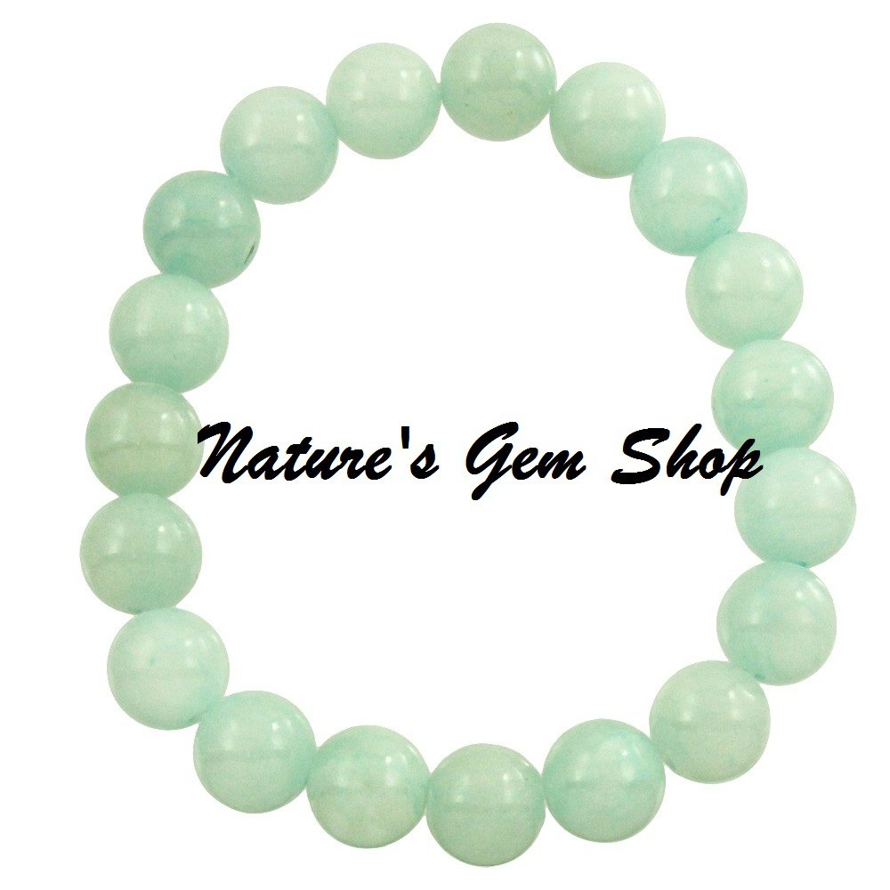Aqua Jade 10 mm stretch bracelet