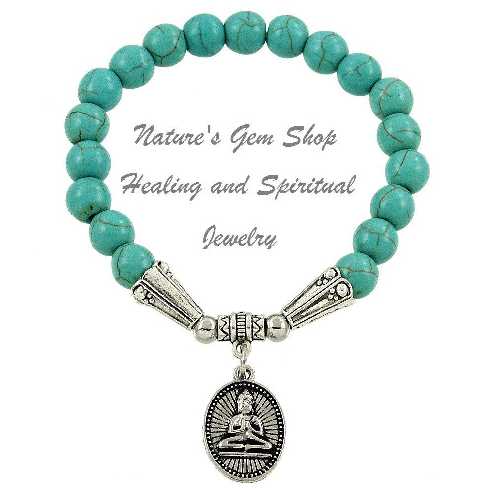 Buddha 8mm  turquoise (magnesite) stretch bracelet