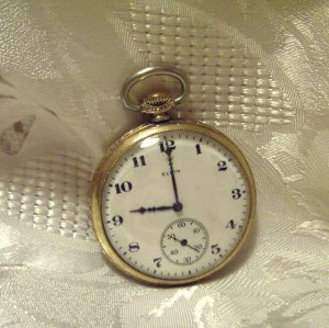 Elgin Pocket Watch 15 Jewels 12 Size Gold Filled  Keystone J Boss Case (ref.#692)