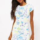 Flower Print Curved Hem Shift Dress Ex-Branded (RP 234719)