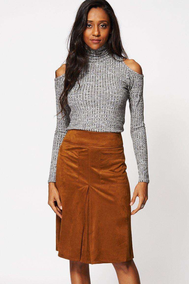 suedette single pleat a line skirt rp273400