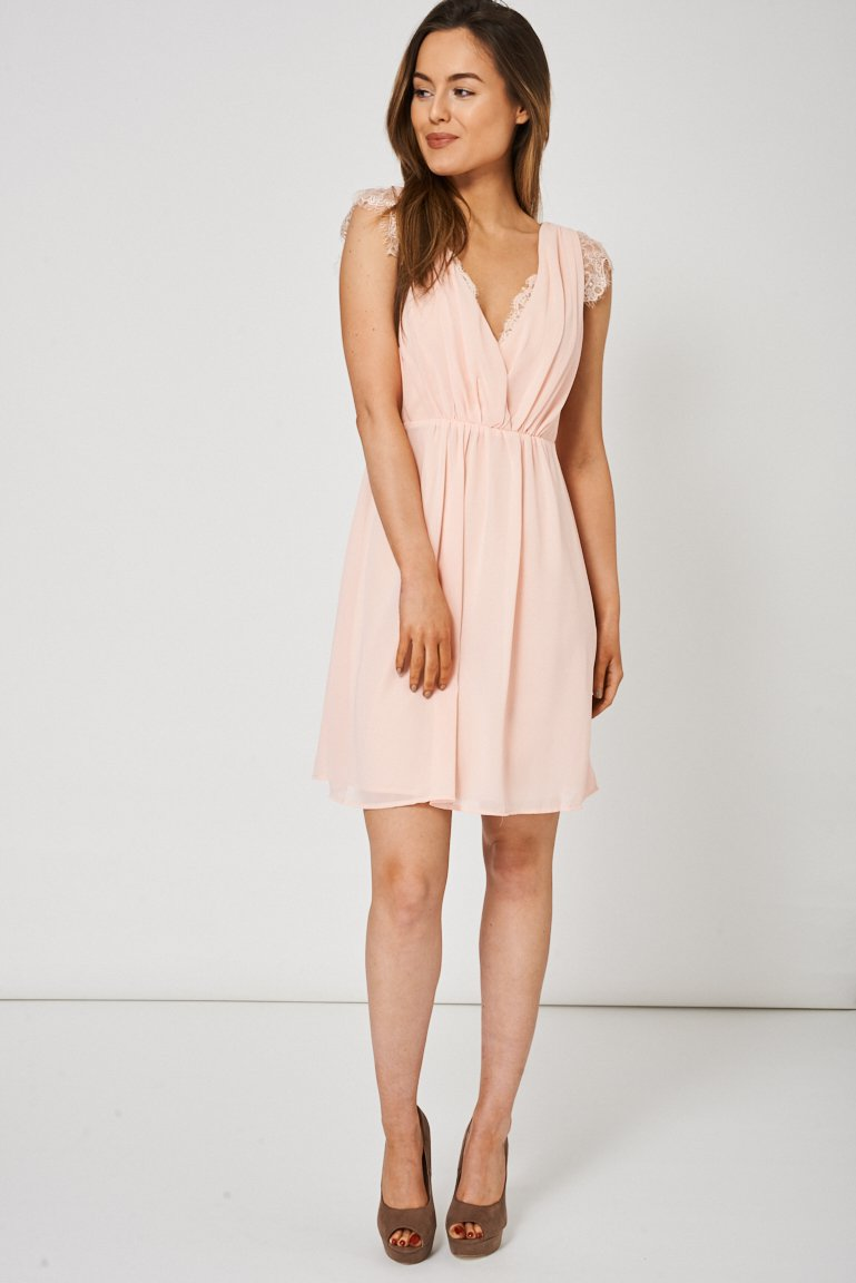 Light Pink V-Neck Dress With Lace Detail (RP 216560)