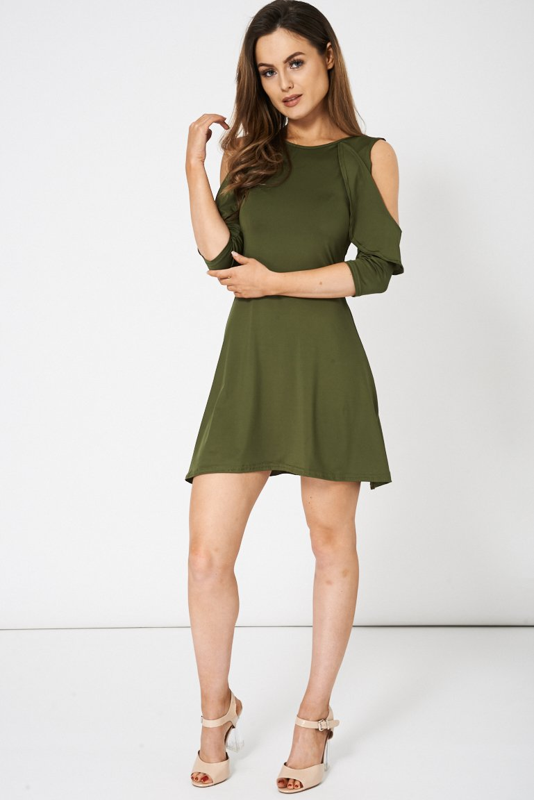 Green Layered Cold Shoulder Dress (RP299904)