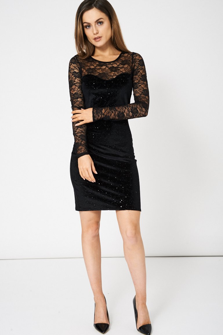 Velveteen Embellished Dress With Lace Insert (RP366579)