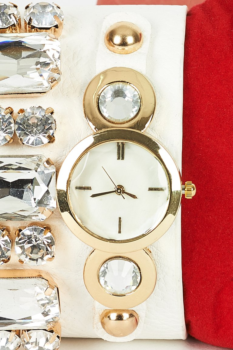 Cream Faux Leather Watch (RP249897)