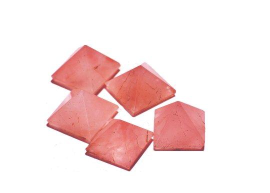 Rose Quartz - Set Of 5 Pyramids Each Of - 22-30 MM