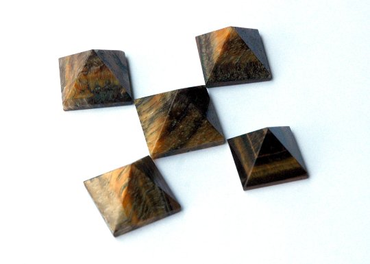 Tiger Eye Pyramids - set of five