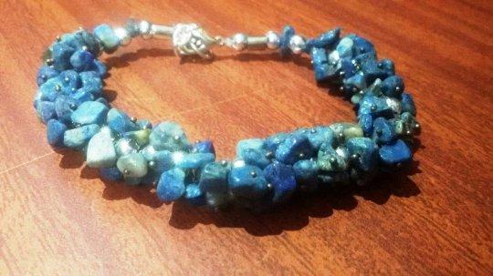 Lapis Lazuli Bracelet - Uncut Stone For healing and balancing throat chakra
