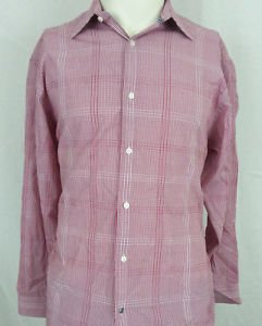BEN SHERMAN Red White Blue Plaid Long Sleeve Button Down Collar Shirt Size L