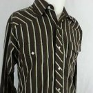 Wrangler Authentic Western Diamond Pearl Snap Brown Striped Men's Shirt - M