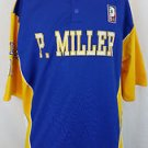 P. Miller Denim Collection Mens Knit Shirt 06 Button Blue Yellow Jersey Size XL