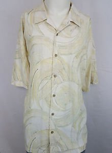 Tommy Bahama 100% Silk Yellow Swirls Hawaiian Men's Shirt - XXL 2XL