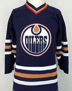 Vintage Edmonton Oilers Starter NHL Hockey Blue Sewn Retro Jersey Gretzky - S