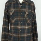 Vintage Pendleton Lumberjack Flap Pockets Hunting Wool Brown Plaid Shirt - M