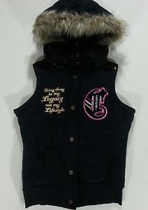 COOGI Gold Full Zip Embroidered Patch Black Fur Detachable HOOD VEST - M Medium