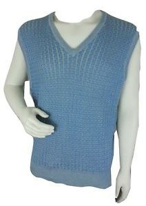 BOBBY JONES Sky Blue Golf Sweater Men's Vest - L Large