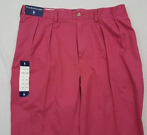 Ralph Lauren Polo Khaki  Red Salmon Pink Pleated Pants Size 36 x 30