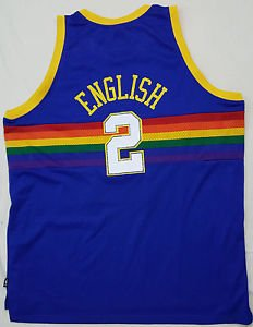 Alex English #2 Denver Nuggets Reebok Hardwood Classics NBA Sewn Jersey  5XL