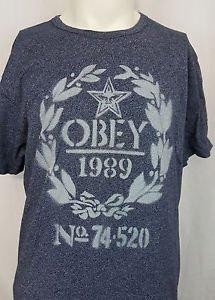 OBEY Propaganda 1989 Number 74 520 Mens Grey Shirt XL