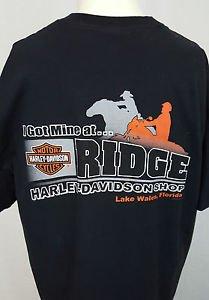 Harley Davidson Motorcycles Life Begins Ridge LAKE WALES FLORIDA Black Shirt XL