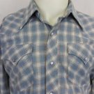 Vintage H Bar C Cowboy Blue Western Pearl Snap Mens Rockabilly Shirt - 16.5 - 33