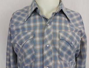 Vintage H Bar C Cowboy Blue Western Pearl Snap Mens Rockabilly Shirt - 16.5 - 33