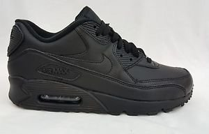 New Nike Air Max 90 Leather Mens All Black Running Shoes Size 10 302519 001