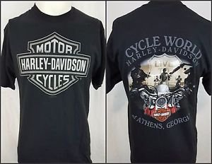 Harley Davidson Motorcycles Cycle World Athens Georgia Black Shirt Size Medium