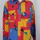 Vintage Wrangler Aztec Rodeo Cowboy Indian Navajo Western Shirt 16 1/2 36