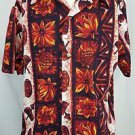 Vintage Ui Maikai Tiki Pineapples Bongos Orange Hawaiian Shirt Size Large