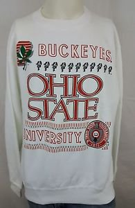 Vintage Ohio State University Buckeyes College NCAA White Sweatshirt Size L
