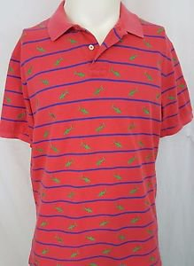 Polo Ralph Lauren Short Sleeve Embroidered Sharks Striped Red Shirt Size XL