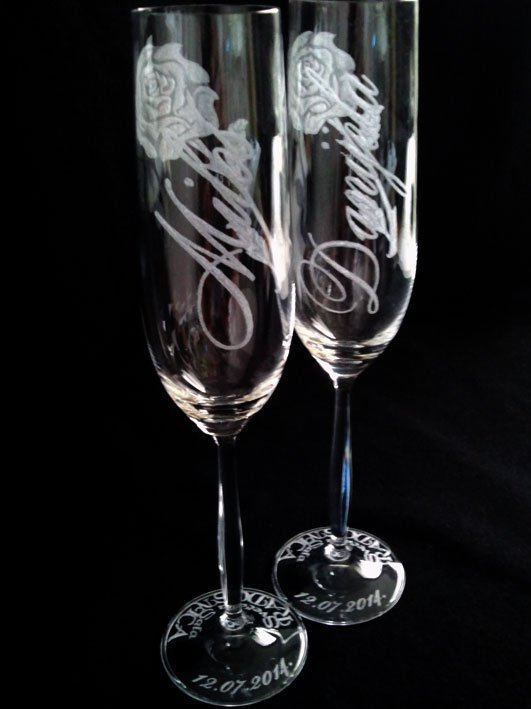 Wedding Glass Two Hand Engraved Champagne Flutes
