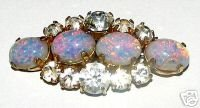 EXQUISITE VINTAGE BROOCH OPALESCENT FAUX OPAL/DIAMONTE