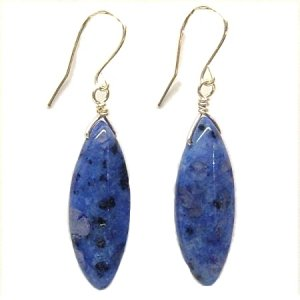 Blue Kiwi Jasper and Silver Earrings