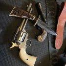Antler Handle Indian Joe Knife Hand Made Handle Custom Damascus Blade Bowie 5.5
