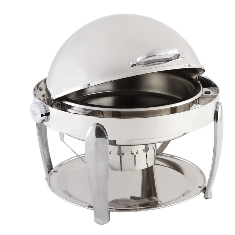 21 dia. x 19 1/2 H inch Non Dripless Round Chafer with Vented Lid/Roman Design Leg/Chrome Trim