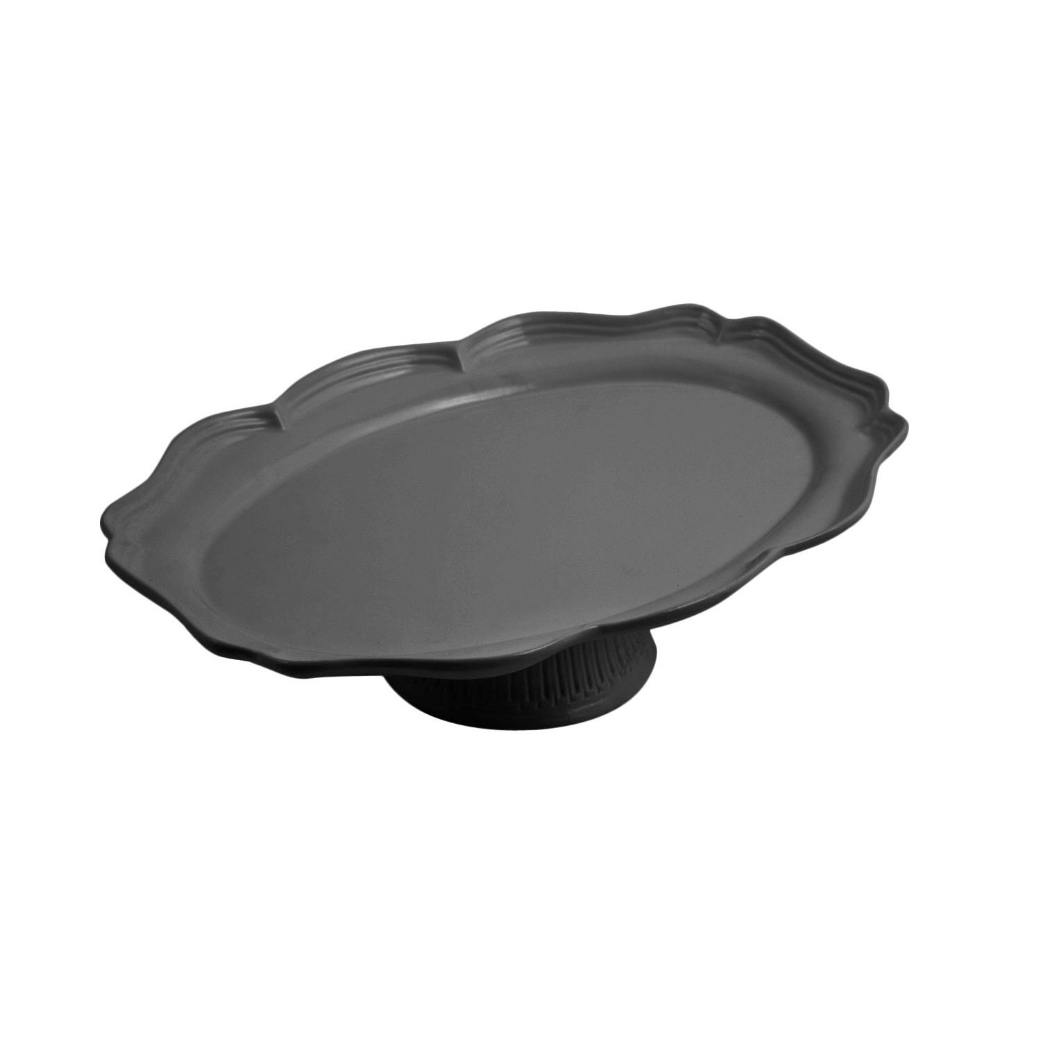 14 3/4 x 20 x 4 3/8 inch Oval Pedestal Tray Sandstone Black Speckled