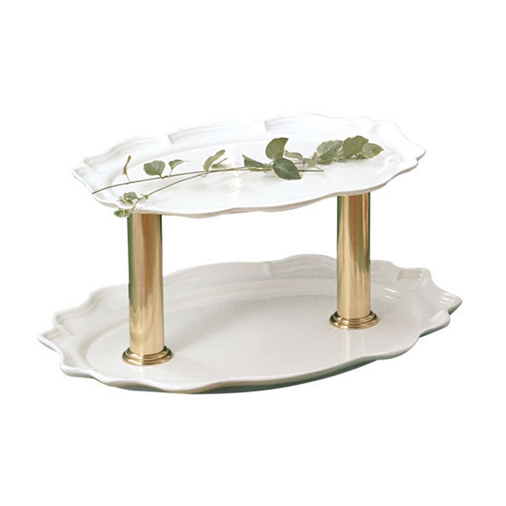 24 x 19 x 10 inch Two Tier Oval Stand Sandstone Ivory Speckled