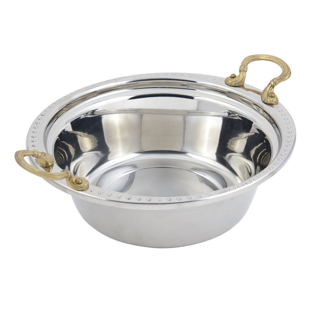 4 qt 13 x 12 1/4 x 4 inch Stainless Steel Casserole Bolero on the Rim with Round Handle SS