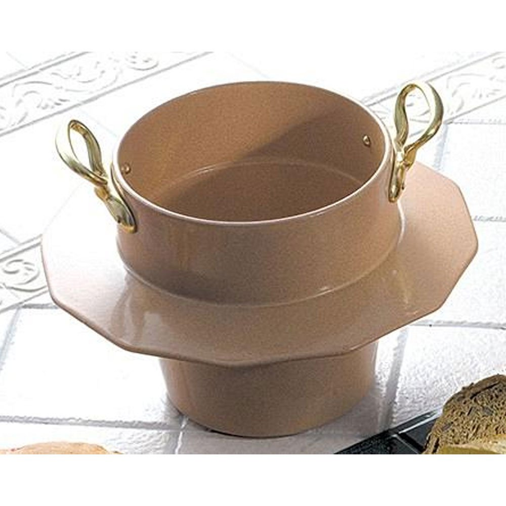10 qt 12 oz Soup Bowl with Collar and 2 Brass Handle Sandstone Terra Cotta