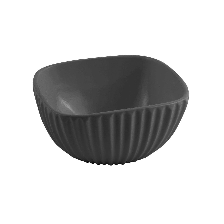 6 x 6 x 3 H inch Square Ribbed Bowl Sandstone Black